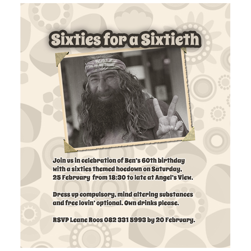 Invitation: 60th Birthday Party with Hippie Theme ...
