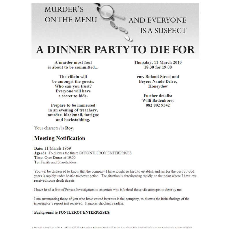 Murder Mystery Dinner Sheet Free: Kangaroo Digital