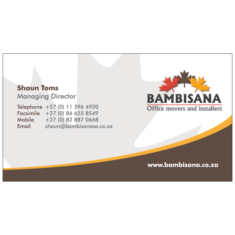 Bambisana Office Movers: Business Card Design | Kangaroo Digital