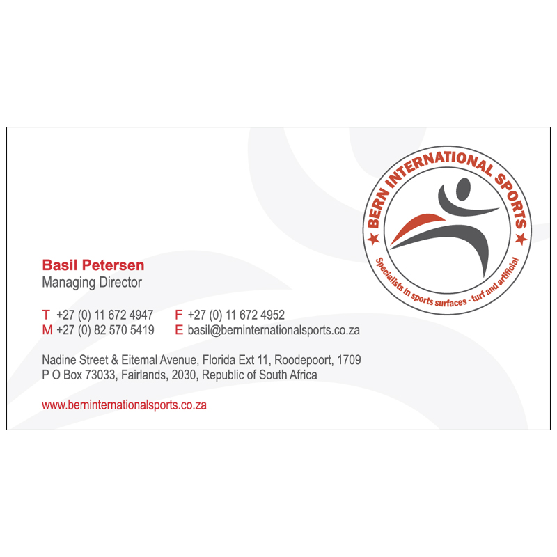 Bern international sports business card design kangaroo for Hispano international decor contact number