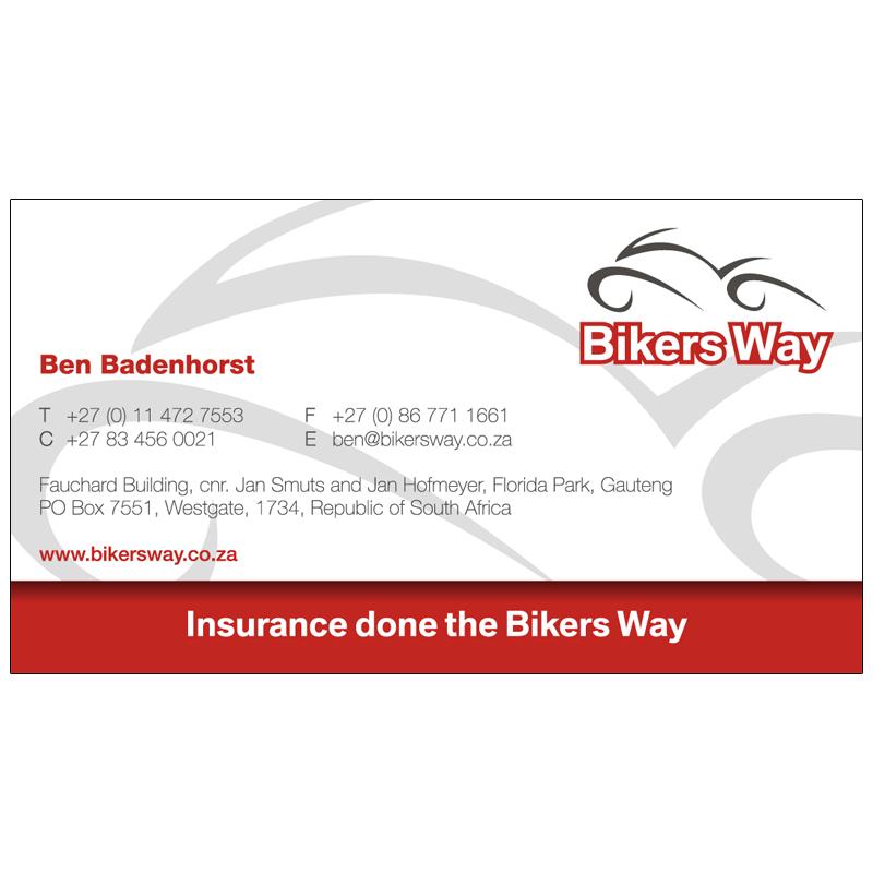 Bikers way insurance business card design kangaroo digital business card bikers way insurance 01 reheart Images