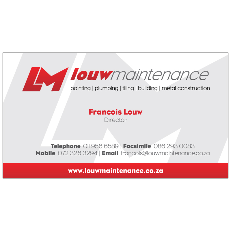 Louw Maintenance Business Card Design Kangaroo Digital
