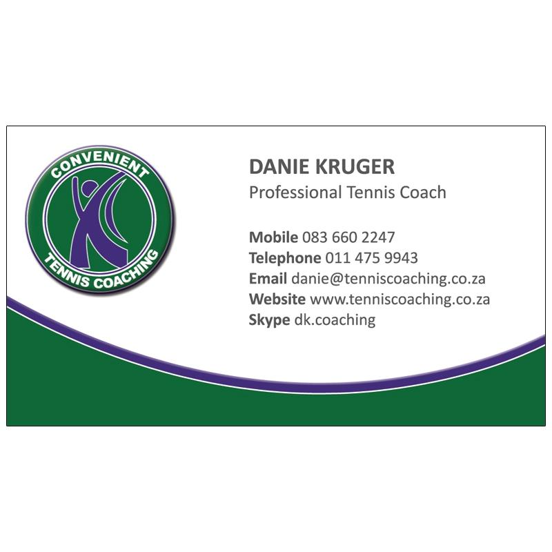 Convenient Tennis Coaching: Business Card Design   Kangaroo Digital