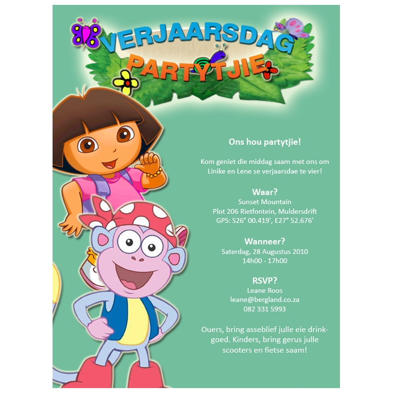 Invitation: Dora the Explorer Birthday Party | Kangaroo Digital