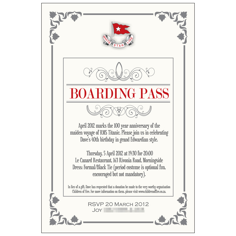 invitation 40th birthday party with titanic theme kangaroo digital