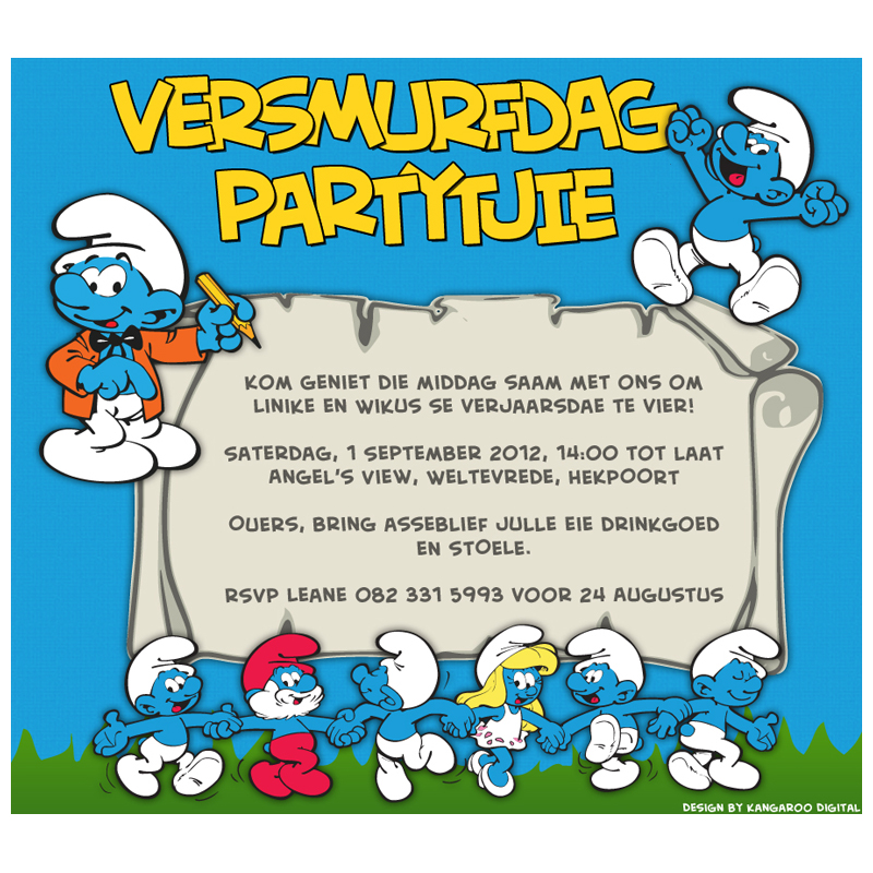 Invitation Smurf Birthday Party Kangaroo Digital