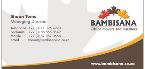 Bambisana Office Movers: Business Card Design