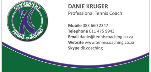 Convenient Tennis Coaching: Business Card Design