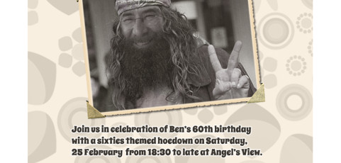 Invitation: 60th Birthday Party with Hippie Theme