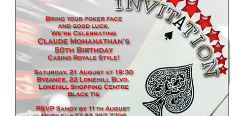 Invitation: 50th Birthday Party with Poker Theme