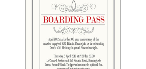 Invitation: 40th Birthday Party with Titanic Theme