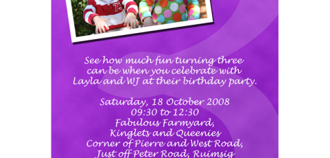 Invitation: Twins Third Birthday Party